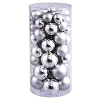 Christmas at Winterland WL-ORNTUBE-60-SLV 1.5-Inch Plastic Shatterproof Silver Ball Ornaments (Package of 100)