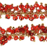 Gold Vermeil Wire Wrapped Gemstone Chain, Glass Rondelles 3mm, 1 Inch, Ruby Red