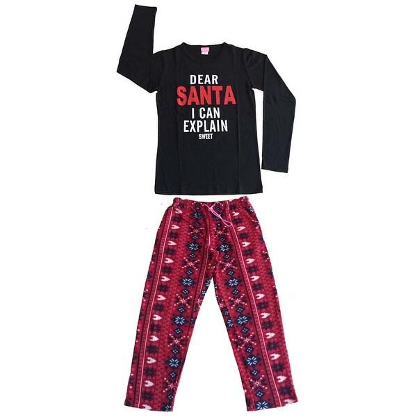 Women Cotton Top & Fleece Lined Pants Pajamas Set (Black)