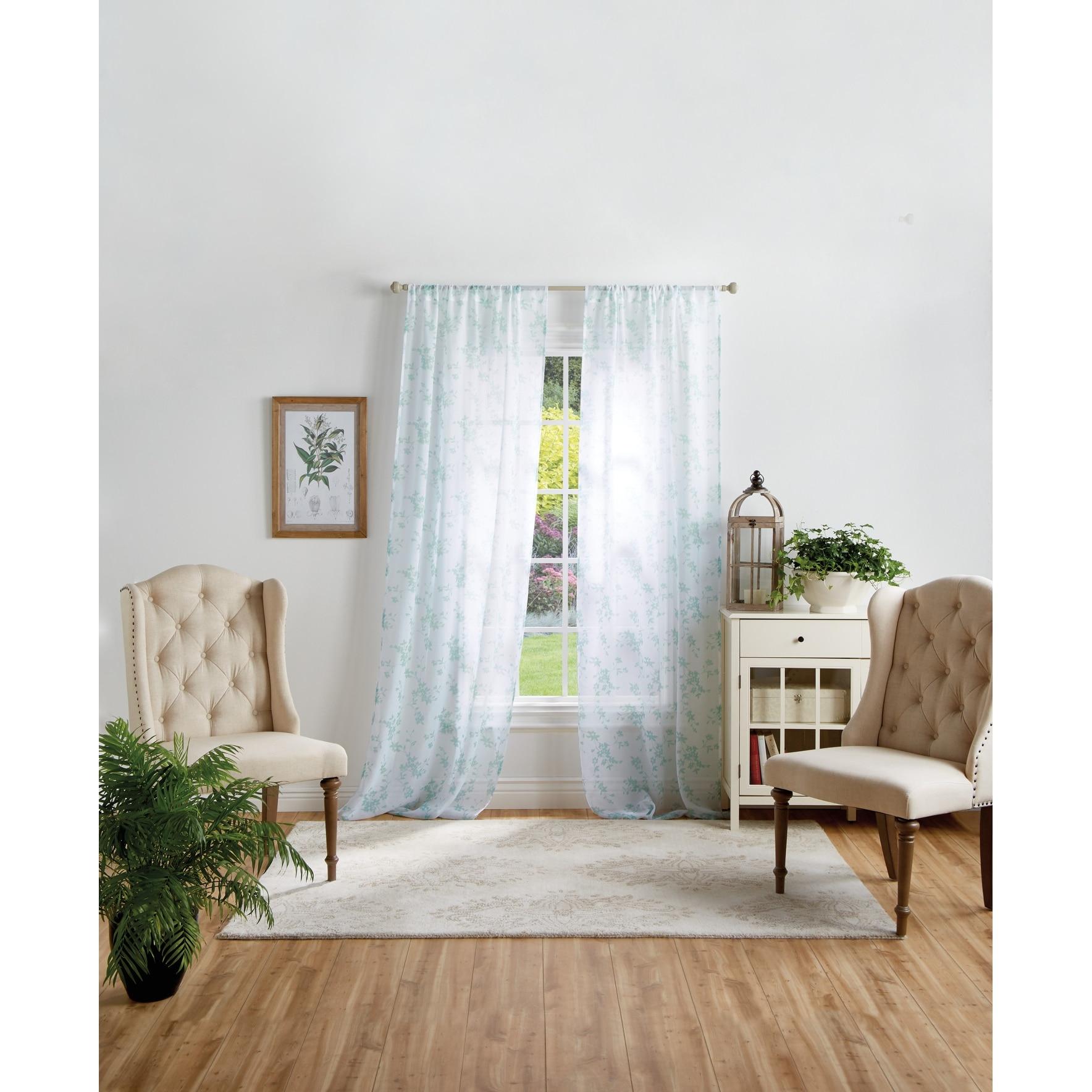 Martha Stewart Bellefield Floral Sheer Rod Pocket Curtain Panel Pair Overstock 31932717