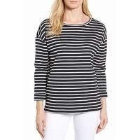 Nordstrom White Striped Women's Medium Knit Blouse