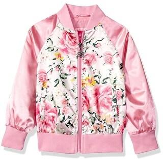 Pink Platinum Girls 2T-4T Floral Satin Bomber Jacket