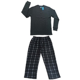 Men Cotton Thermal Top & Fleece Lined Pants Pajamas Set (Grey)