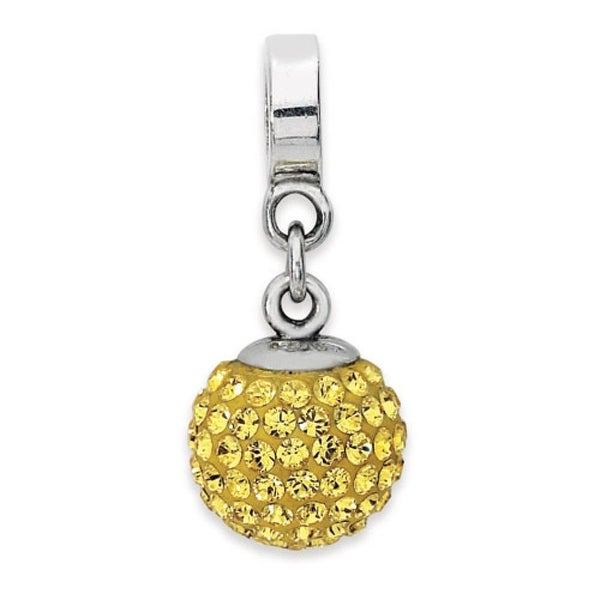 Sterling Silver Reflections Nov Swarovski Elements Ball Dangle Bead (4mm Diameter Hole)