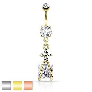 Roped Square CZ and Small CZ Flower Dangle Navel Ring