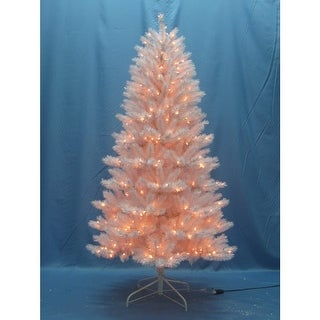 Christmas at Winterland WL-TR-09-WH-LWW 9 Foot Classic White Pre-Lit Christmas Tree with Warm White Lights and Metal Stand