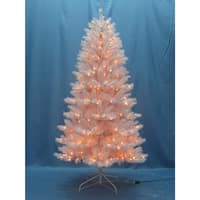 Christmas at Winterland WL-TR-7.5-WH-LWW 7.5 Foot Classic White Pre-Lit Christmas Tree with Warm White Lights and Metal Stand