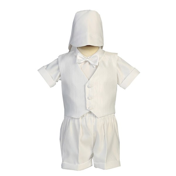 58df0cfeed82 Shop Lito Baby Boys White Vest Satin Shorts Elegant Christening Outfit -  Free Shipping On Orders Over $45 - Overstock - 28294984