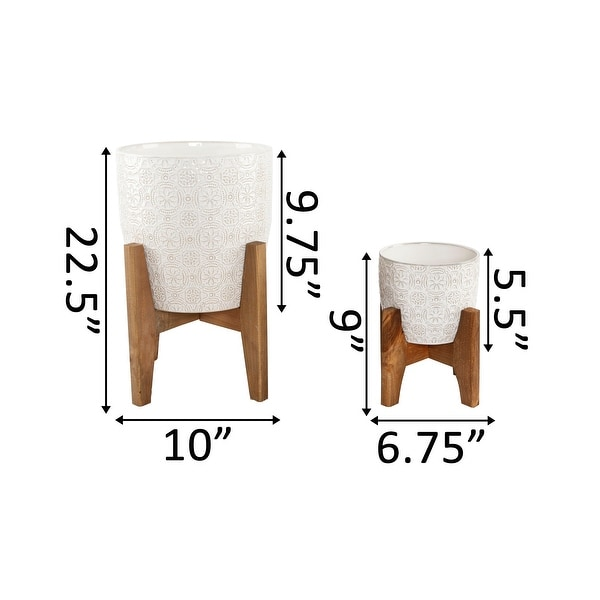"""Mid-Century 10"""" & 6.6"""" Cathedral Ceramic planter on Stand , SET OF 2"""