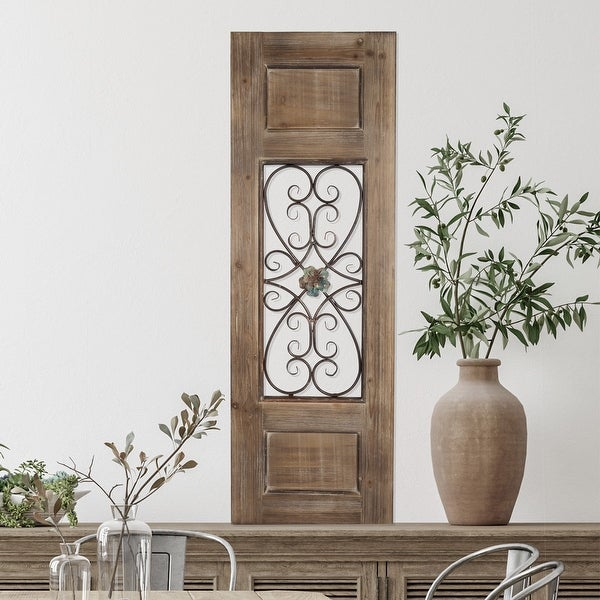 """50"""" Decorative Metal & Wood Door Panel – Iron Scrollwork in a Rustic Wood Door Style Frame by Hastings Home. Opens flyout."""