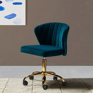 Link to Ilia Vevet Upholstered Task Chair with Gold Base for Home Office Similar Items in Home Office Furniture