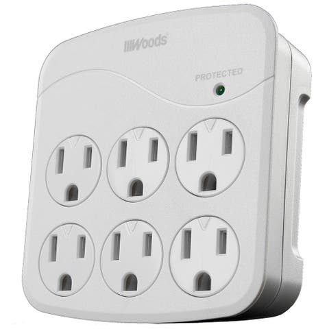 Woods 41076 Power Surge Protector with 6 Outlets, White, 1440J
