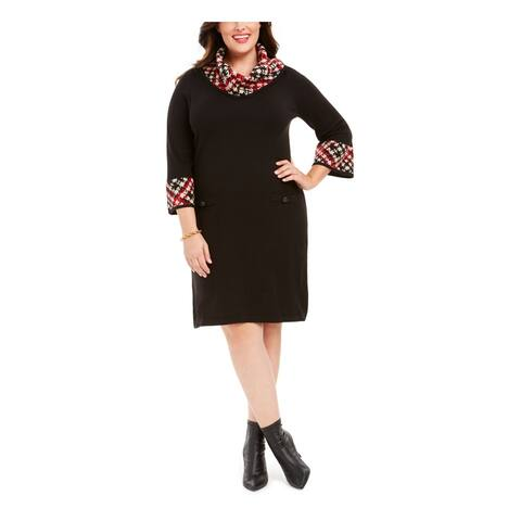 JESSICA HOWARD Black 3/4 Sleeve Knee Length Sheath Dress Size 1X