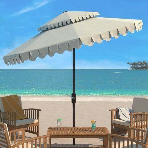 SAFAVIEH Outdoor Living Elegant Valance 9Ft Double Top Umbrella