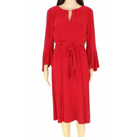 Lauren by Ralph Lauren Women's Red Size 16 Belted Keyhole Shift Dress