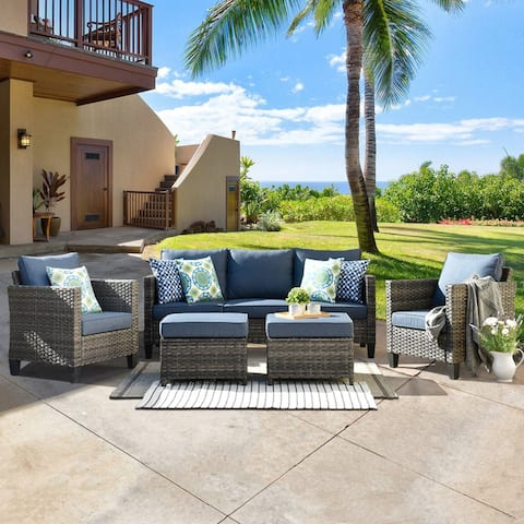 Ovios 5-piece Outdoor High-back Wicker Sectional Set
