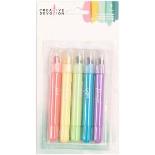 Creative Devotion Gel Highlighters 5/Pkg-Neon Pink, Yellow, Green, Blue, Violet