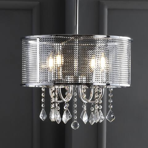 "Avah 17"" Metal/Crystal Adjustable LED Drop Pendant, Chrome by JONATHAN Y"