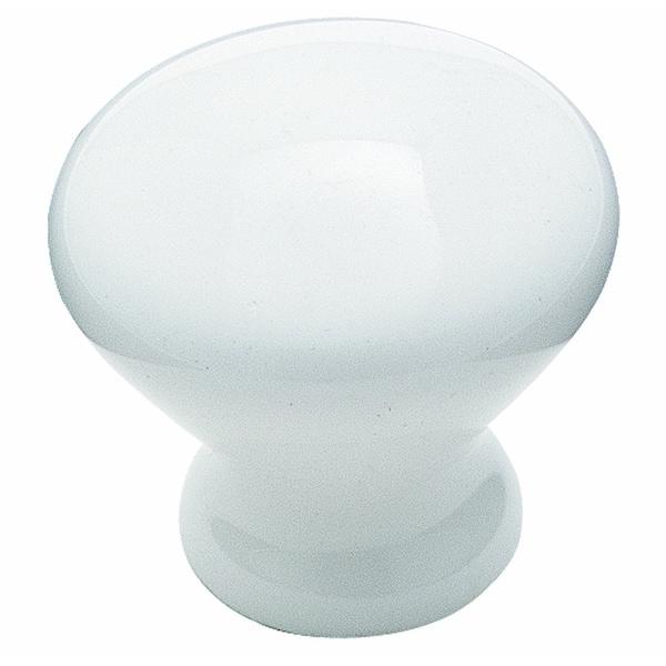 "Amerock BP72530 Ceramics Round Cabinet Knob, 1-1/4 x 1"", White"