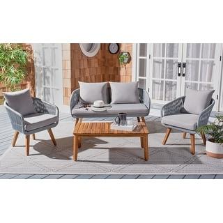 Link to SAFAVIEH Outdoor Living Prester 4-piece Patio Conversation Set Similar Items in Patio Furniture