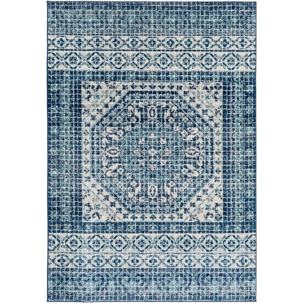 5 3 X 7 Contemporary Persian Design Blue And White Rectangular Machine Woven Area Rug Other Size