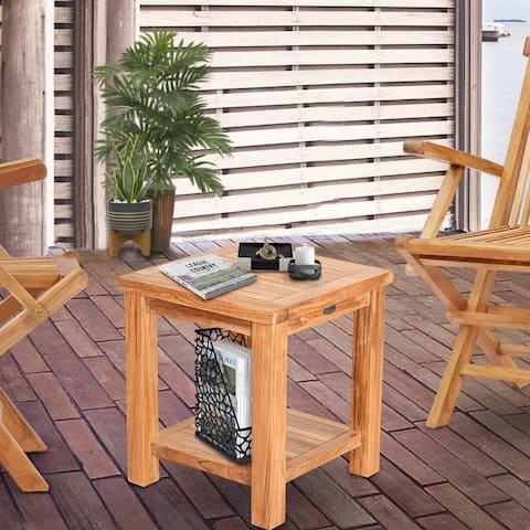 Chic Teak Rustic Teak Wood Tundra Side Table