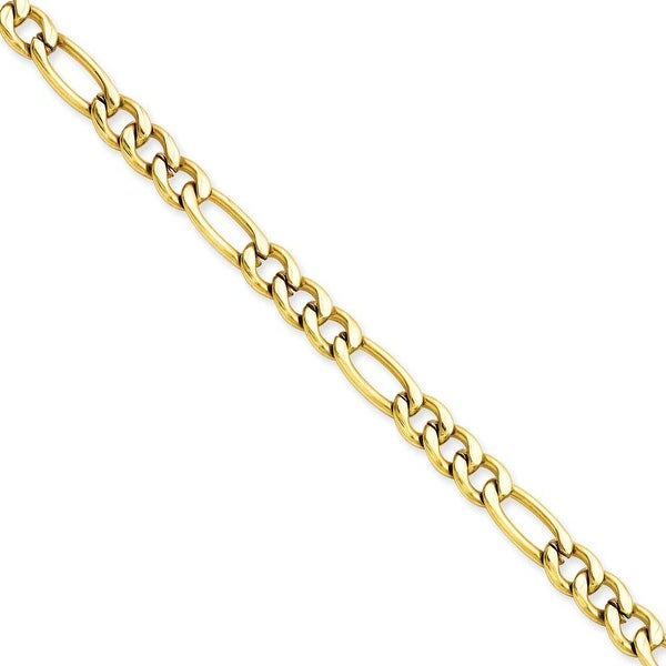 Stainless Steel IP Gold-plated 6.30mm 22in Figaro Chain (6.3 mm) - 22 in