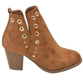 Lov mark Adult Tan Split Side Eyelet Detail Heeled Fashion Boots