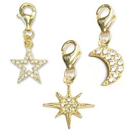 Julieta Jewelry Sunburst, Star, Moon 14k Gold Over Sterling Silver Clip-On Charm Set