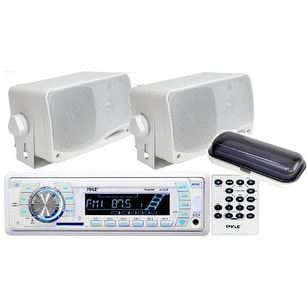 "Pyle In-Dash Marine AM/FM USB/SD Stereo Player Receiver Aux-In for iPod/MP3 W/ Stereo Cover + 2 x 3.5"" 200W Speakers & Remote"