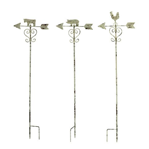 Rustic White Metal Farmhouse Pig Cow Rooster Weather Vane Garden Stake Set of 3 - 42.5 X 11.75 X 11.75 inches