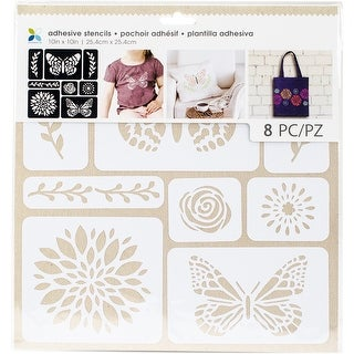 "Momenta Adhesive Stencils 10""X10""-Butterflies & Flowers"