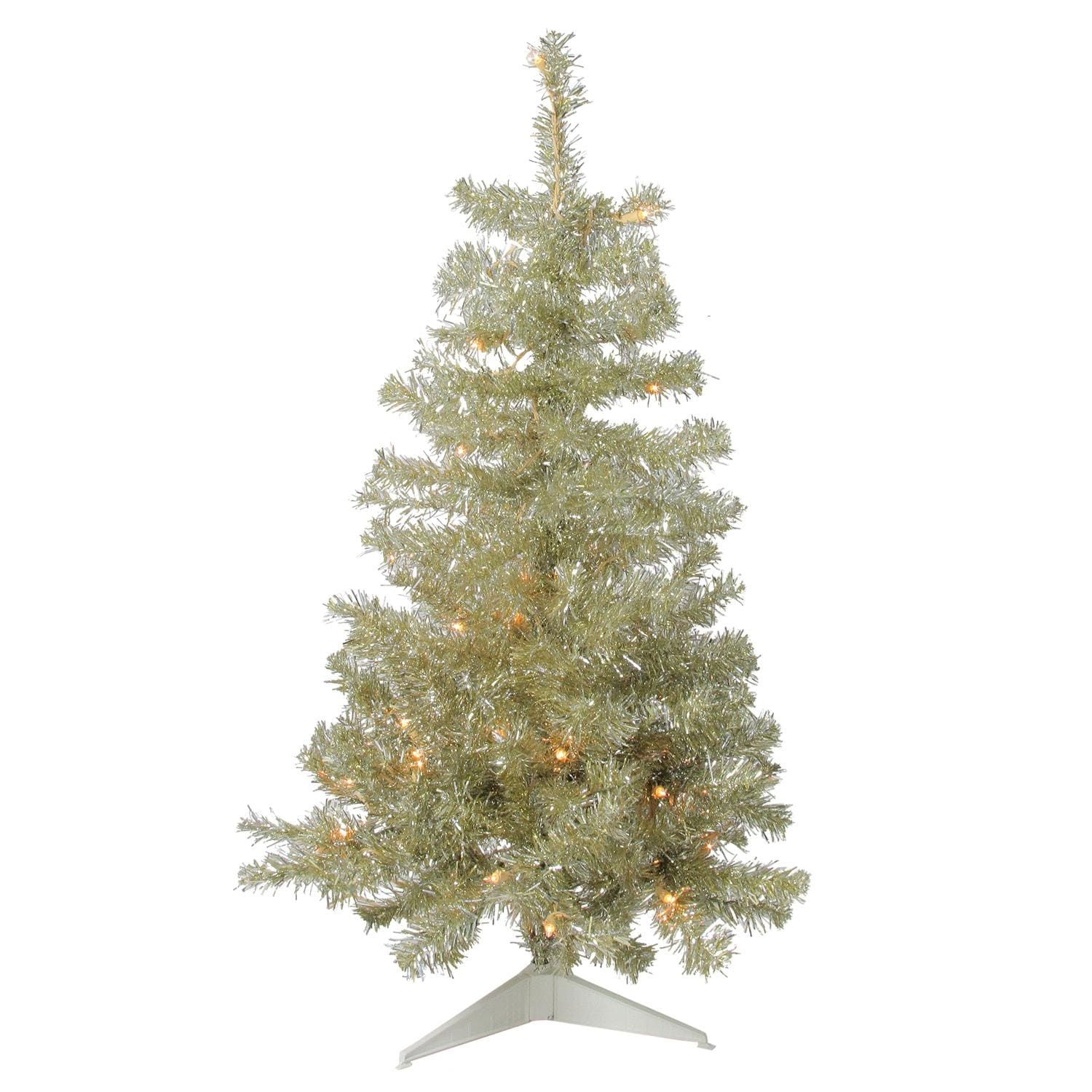 3 Pre Lit Champagne Gold Sparkling Tinsel Artificial Christmas Tree Clear Lights Overstock 18867216