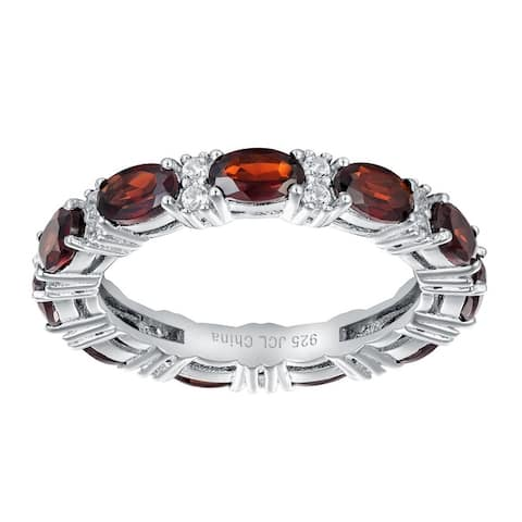 Oval-Cut Gemstones with White Zircon Eternity Ring, Sterling Silver