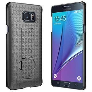 Galaxy Note 5 Case, i-Blason Transformer Slim Shell Case Holster Combo with Kickstand and Locking Belt Swivel Clip-Black