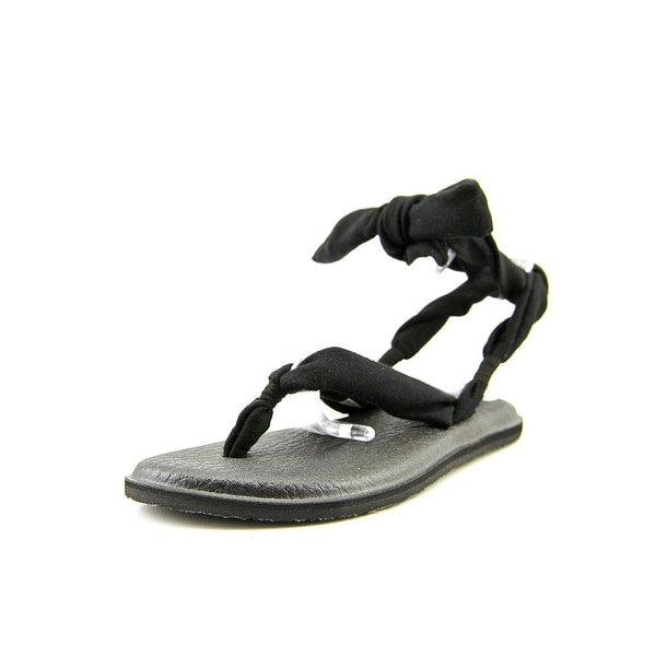 Sanuk Yoga Joy Women Open-Toe Canvas Black Slingback Sandal