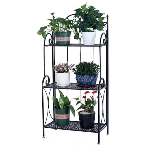 Metal Foldable 3-Tier Plant & Home Decor Display Stand Rack Book Shelf