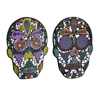 Set of 2 Mirrored Glass Day of the Dead Mosaic Sugar Skull Plaques - Purple