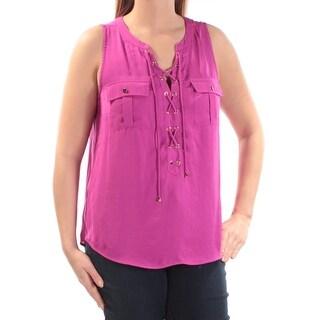 Womens Purple Sleeveless V Neck Top Size L