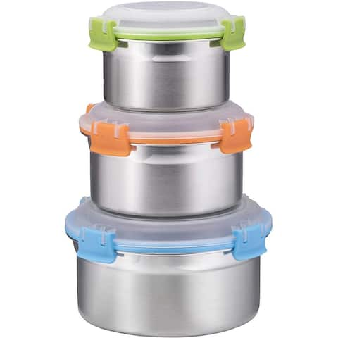 Airtight Food Containers, Set of 3, Stainless Steel with BPA-free Locking Lids, By Bruntmor - 8 oz, 16 oz, 24 oz