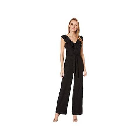 Bebe Glitter Scuba Crepe Jumpsuit with Ruffle Detail, Black, 3/4