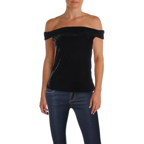 Cupcakes and Cashmere Womens Haili Strapless Top Velvet Off-The-Shoulder
