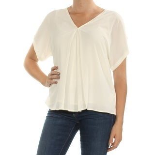 Womens Ivory Short Sleeve V Neck Top Size M