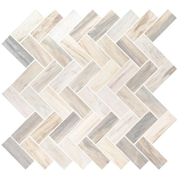 "MSI SMOT-HBP Angora - 12"" x 12"" Herringbone Mosaic Sheet - Polished Marble Visual - Sold by Carton (10 SF/Carton) - Beige"