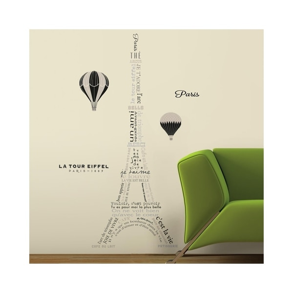Roommates Rmk3094gm 55 X 22 Eiffel Tower Self Adhesive Repositionable Vinyl Wall Decal Set Of 9 N A Free Shipping On Orders Over 45