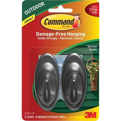Command 17086S-AW Outdoor Terrace Hooks, Slate, Medium
