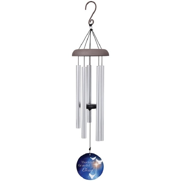 """30"""" Silver and Blue Blessed Wind Chime with Printed Sail - N/A"""