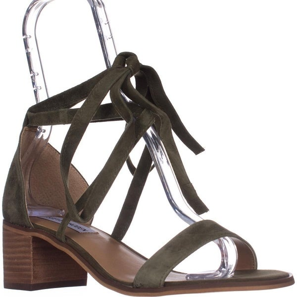 5588d470ac8b3 Shop Steve Madden Rizzaa Lace Up Ankle Strap Sandals, Olive Suede ...