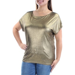 Womens Gold Dolman Sleeve Jewel Neck Casual Top Size XS