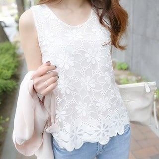 sleeveless vest shirt slim female Lace Chiffon shirt